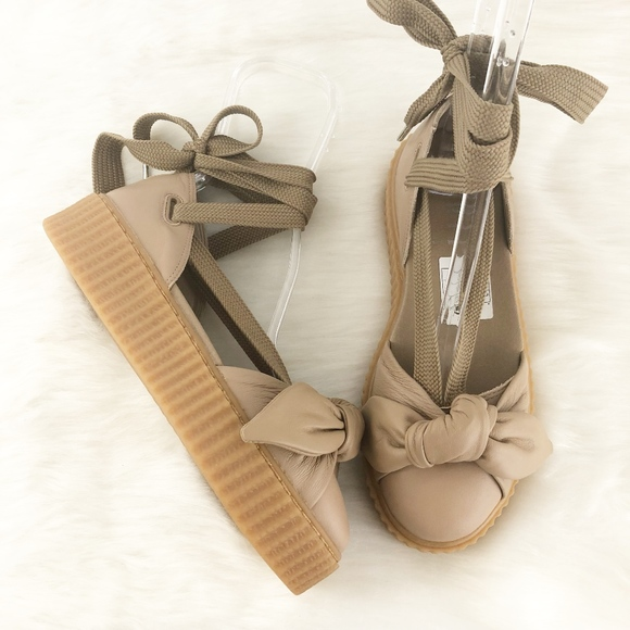 competitive price 61a0a 6d49a Fenty By Rihanna Puma Bow Creeper Sandals in Tan